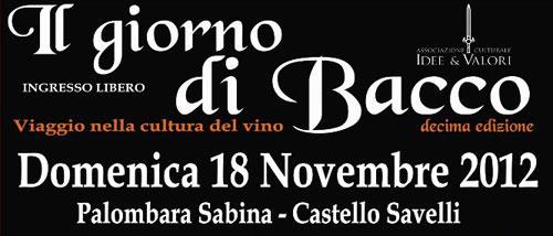 """""""Il giorno di Bacco"""", il 18 novembre a Palombara Sabina"""