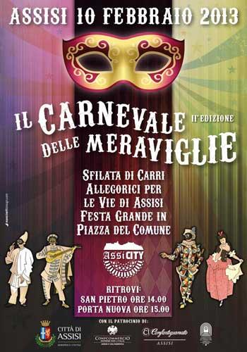 La locandina della seconda edizione del Carnevale delle Meraviglie di Assisi