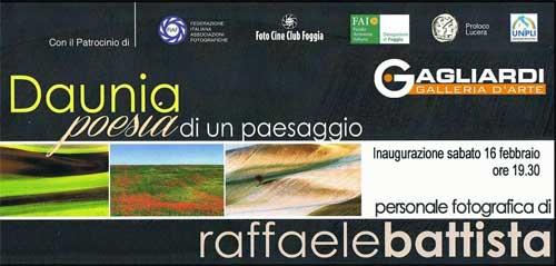 Lucera, dal 16 febbraio in mostra le foto di Battista