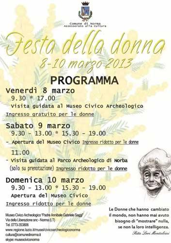 Il programma degli eventi per la festa della donna