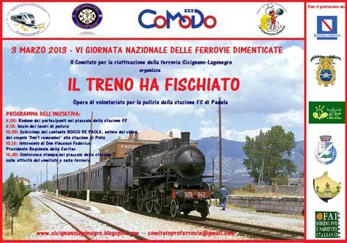 """A Padula il 3 marzo """"Il Treno ha fischiato"""""""