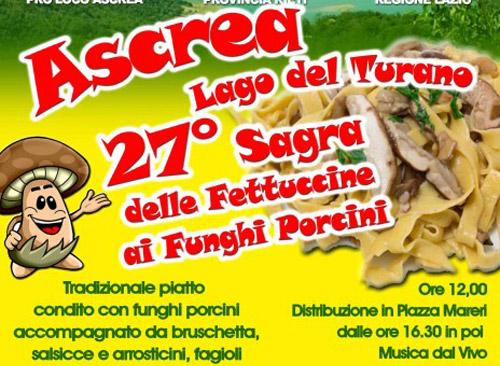 Ascrea, il 4 agosto la Sagra delle Fettuccine ai funghi porcini