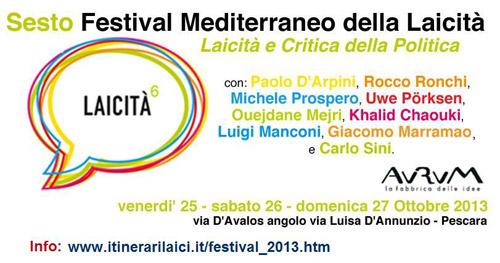 A Pescara il VI Festival Mediterraneo della Laicità