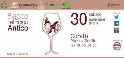 """Puglia. A Corato """"Bacco nel Borgo Antico con i Sapori d'Autunno"""""""