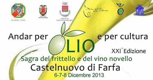 """Bis di Sagre a Castelnuovo di Farfa: dal 6 dicembre torna """"Andar per Olio e per Cultura"""""""