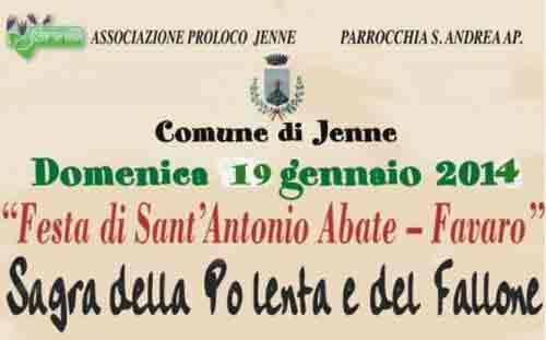 A Jenne il 19 gennaio la Sagra della Polenta e del Fallone